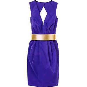 h&m trend chic blue gold belt tulip cocktail party pencil dress 6