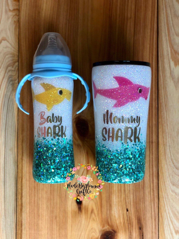 Mommy & Me Baby Shark Set /// glittered yeti/ cutstom