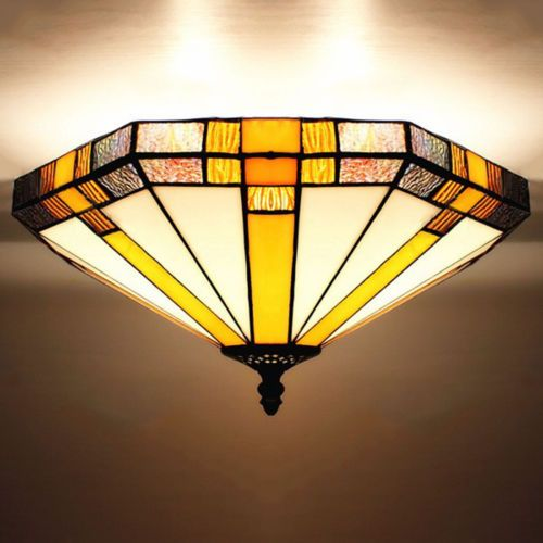 Details About Flush Mount Light Stained Gl Ceiling