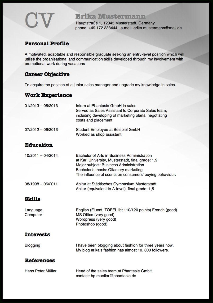 15 Platzierung Muster Lebenslauf Auf Englisch Tipps Curriculum Vitae Writing Tips Organizational Communication