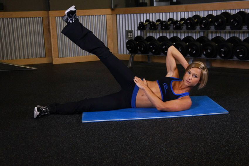 Image result for woman Side Jackknifes with ankle weights