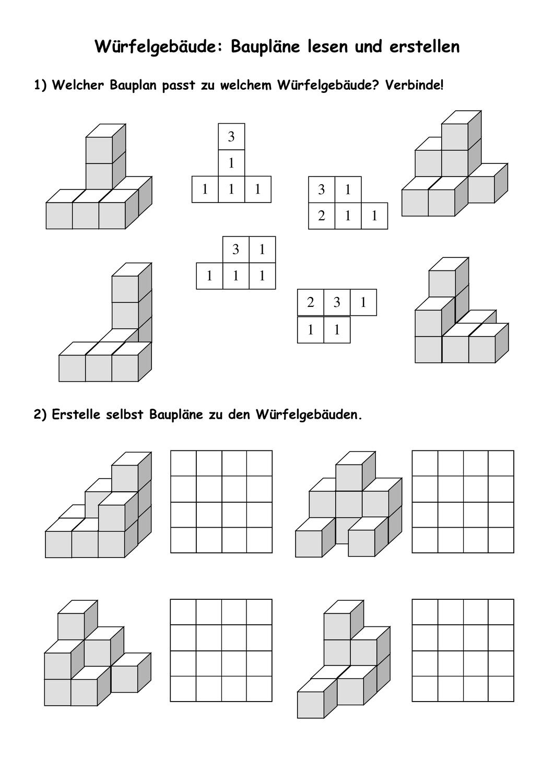 Arbeitsblatt Würfelgebäude – Unterrichtsmaterial im Fach ...