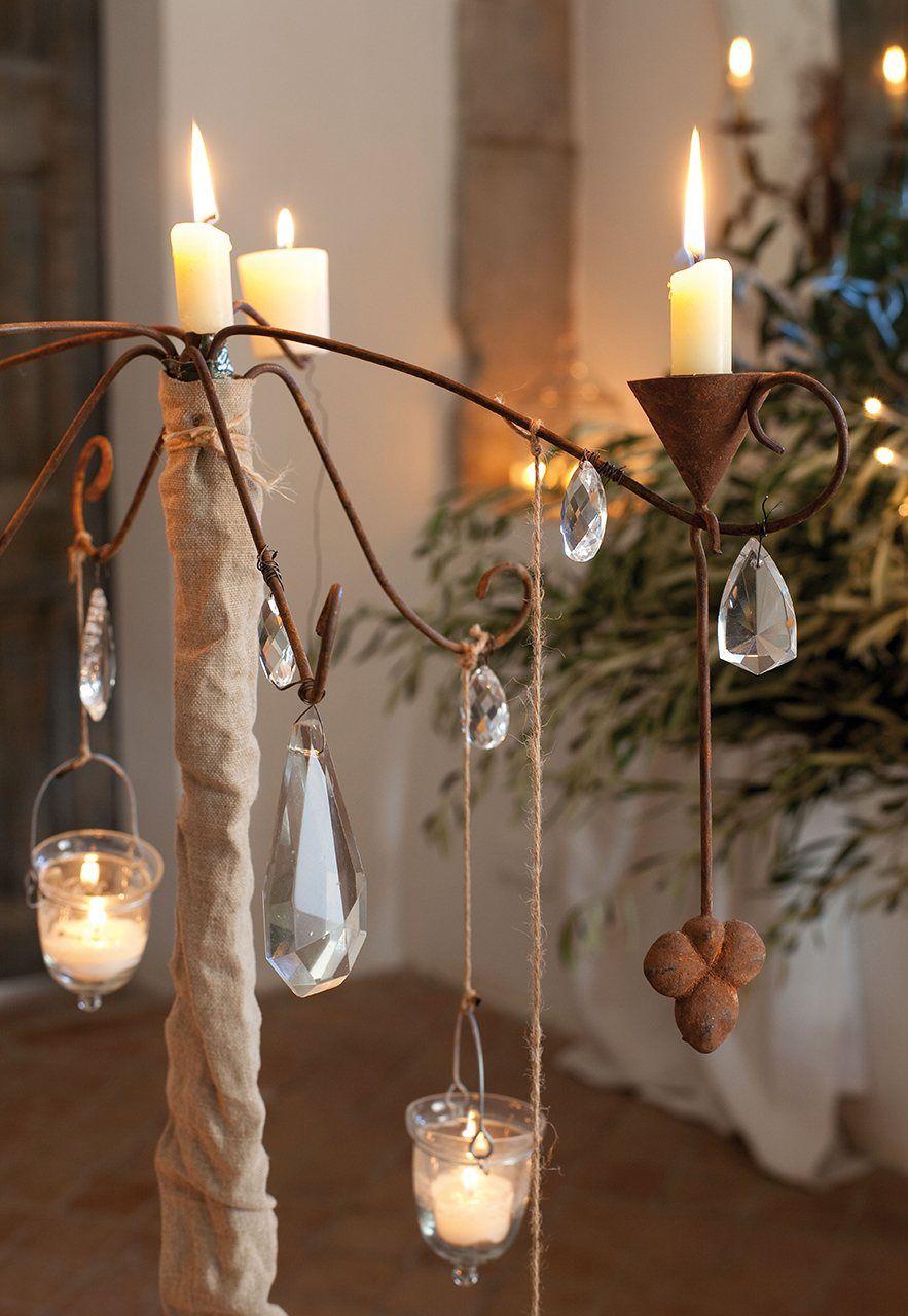 Candelabro decorado candelabro adornado con caireles y for Decoracion navidena rustica