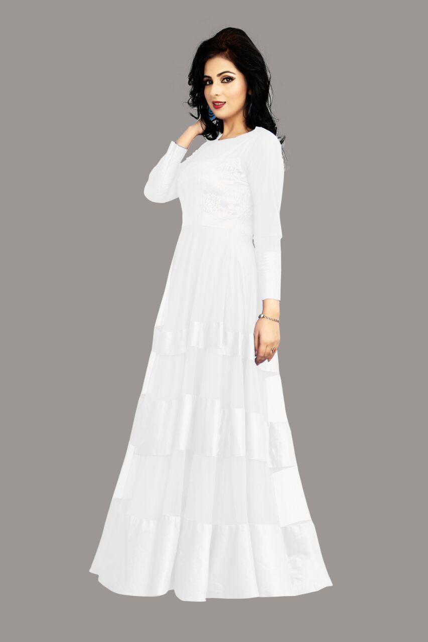 d115d856b63a Shop White Colour Net Satin Brasso Dress Material - CVA008-0003 Online for  best deal