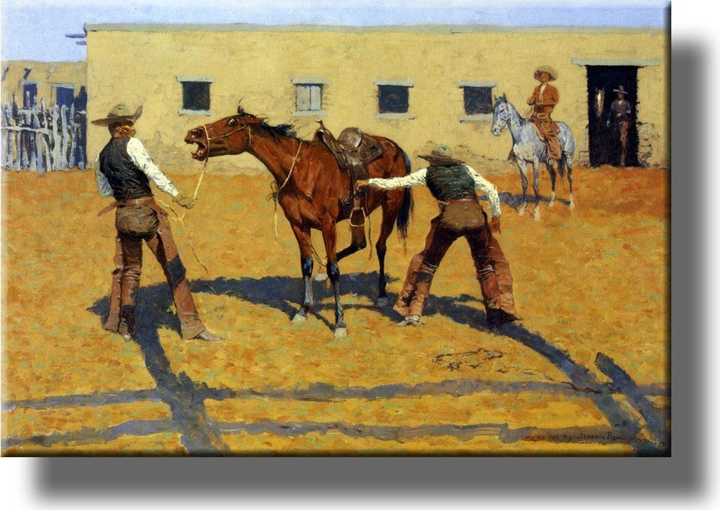 His First Lesson from Cowboy by Remington Picture on Acrylic , Wall ...