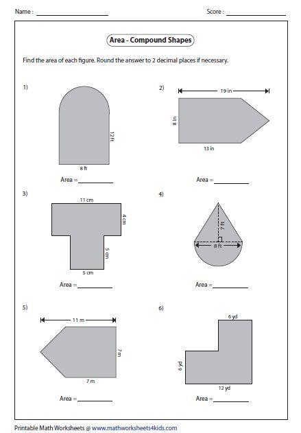 Area Of Composite Figures Worksheet 7th Grade en 2020 ...