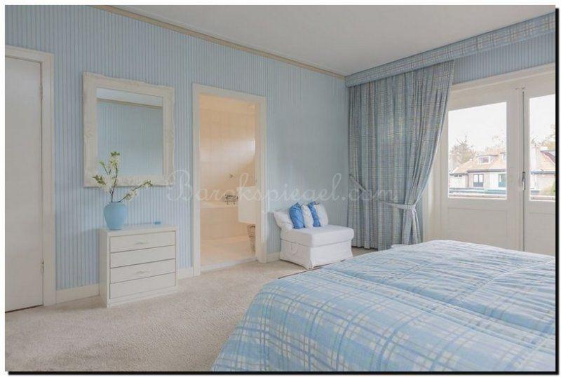 Woonstijl terug naar de kust in de slaapkamer met zomerblauwe muren ...
