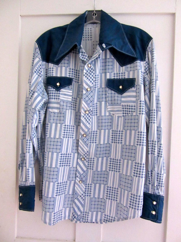 Western Shirt - Vintage - Navy Blue and White Plaid - Cowboy