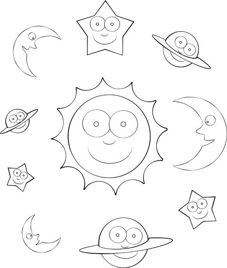 Solar system color sheet for pre-k, Kindergarten