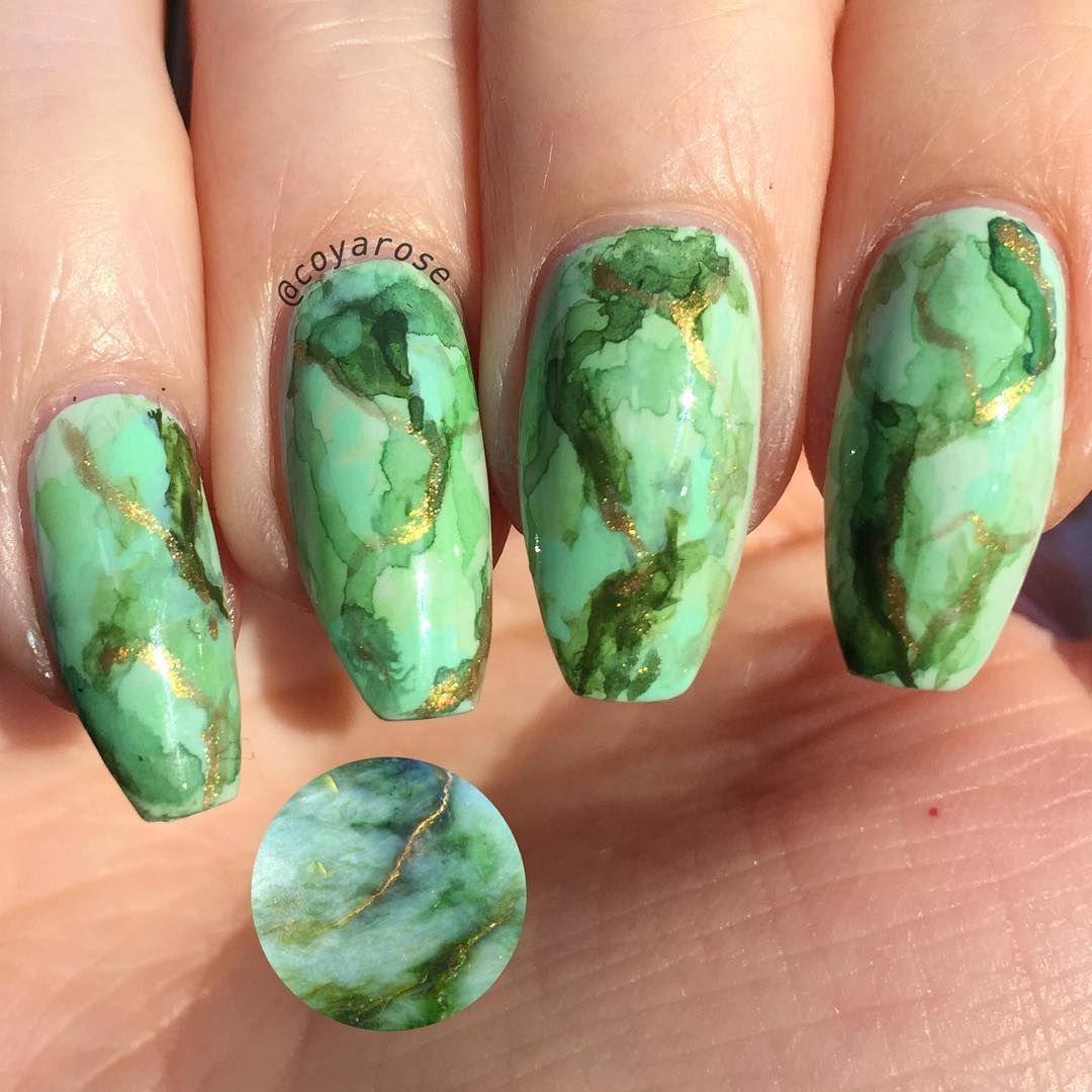 Jade Turquoise Marble Gemstone Nails Nail Art Nail Art By