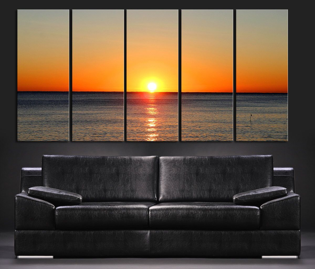 Large wall art canvas colorful sunset on sea ocean landscape canvas