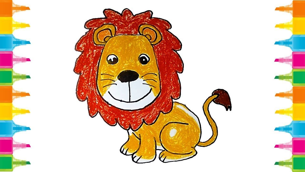 How To Draw A Cute Cartoon Lion For Kids Step By Step Very Easy Cartoon Lion Lions For Kids Lion Drawing
