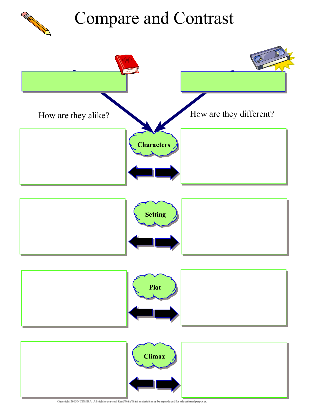compare and contrast worksheet   Kindergarten worksheets [ 1650 x 1275 Pixel ]