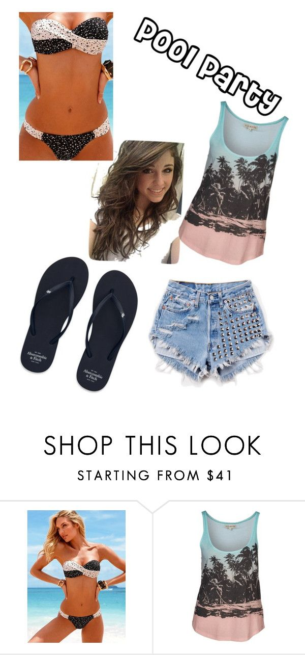 """catty- festa de piscina"" by kelly-elliott ❤ liked on Polyvore featuring Victoria's Secret, Runwaydreamz, Billabong and Abercrombie & Fitch"