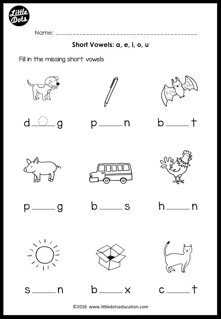 Effortless image regarding printable short vowel worksheets