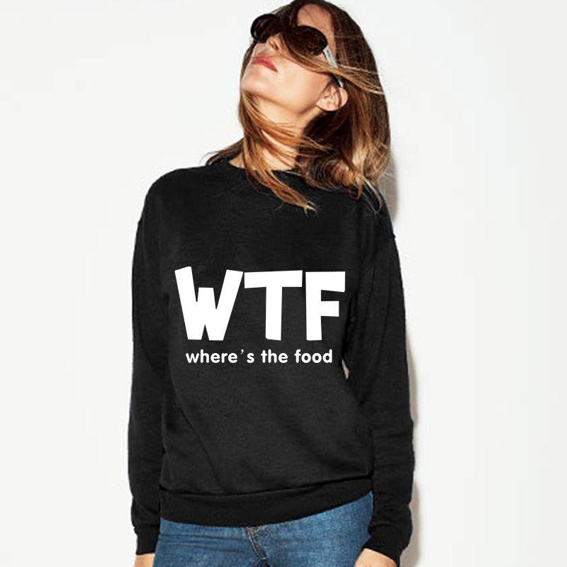 Sudaderas Mujer 2017 Fashion Polerones WTF Letter Print Long Sleeve O-Neck Hoodies Women Autumn Tumblr Sweatshirts Tracksuit