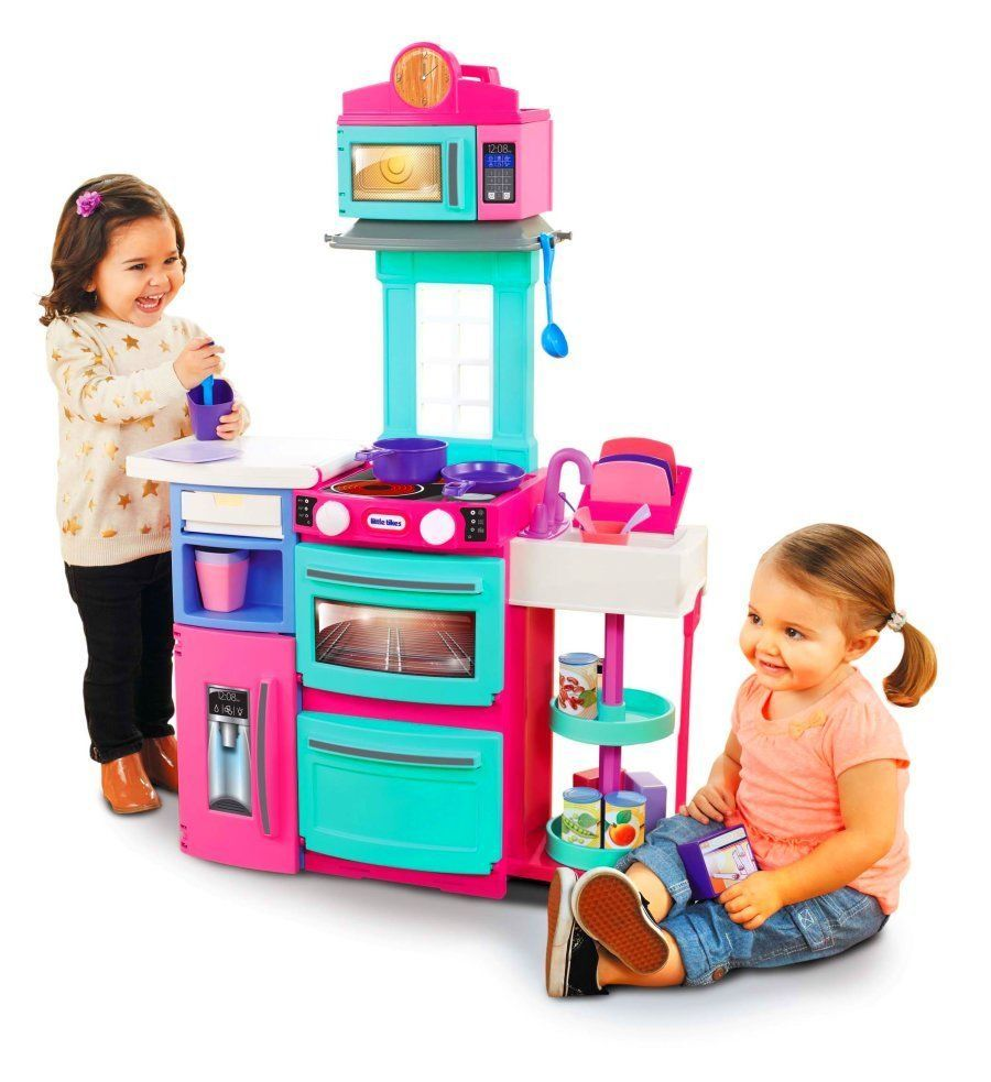 Kids Kitchen Playset Pretend Play Cooking Cook Toddler Toys Playset Pink  #LittleTikes
