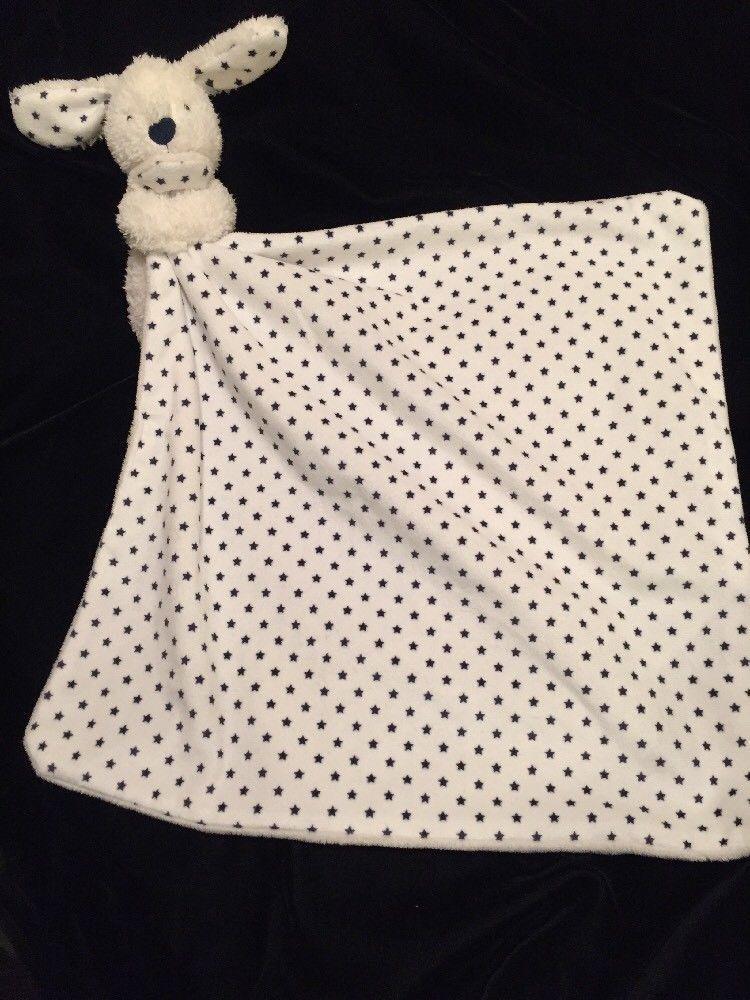 M S Puppy Dog Comforter Blanket Blue Stars Cream White Soother