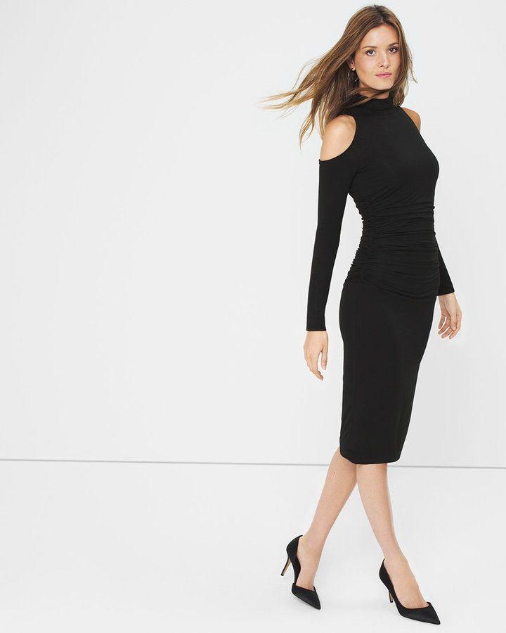 cc021d060f282 White House Black Market Cold-Shoulder Black Sheath Dress