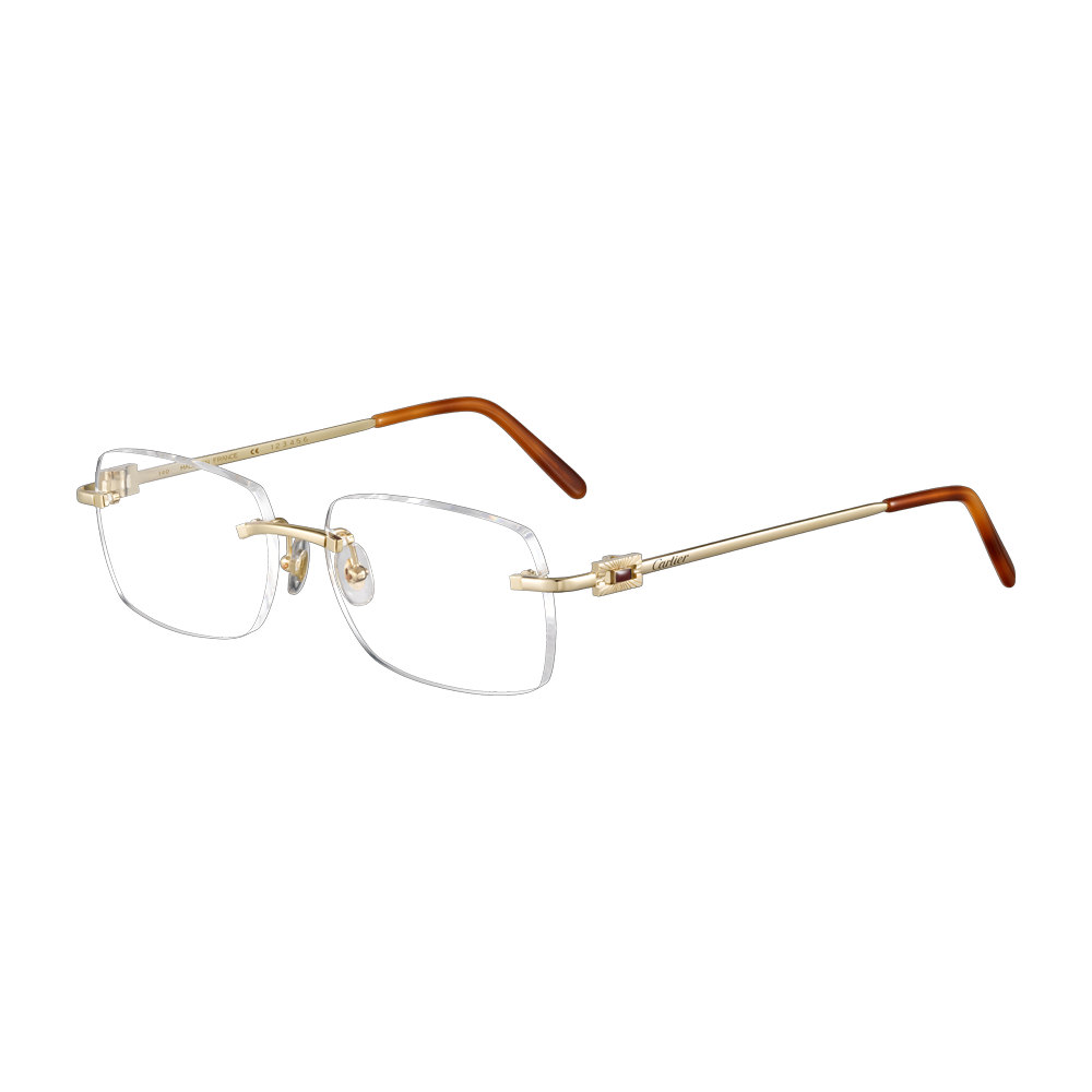 03aaa9d4da3 Men s Double C Decor precious glasses - Precious frames in 18K yellow gold  and red lacquer