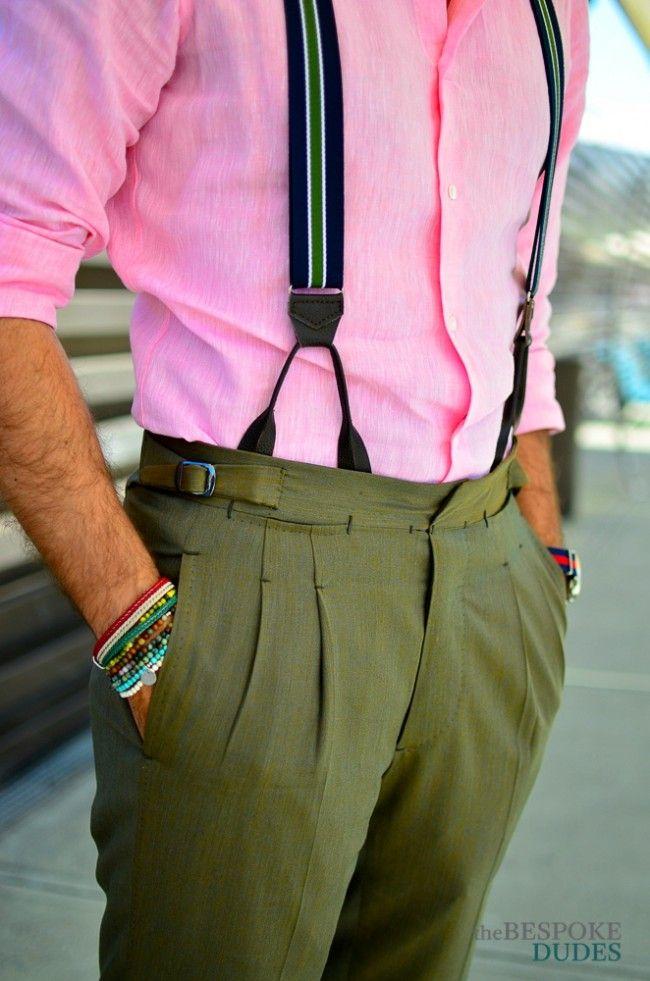 Braces × pleats bracelets pink linen shirt suitsupply