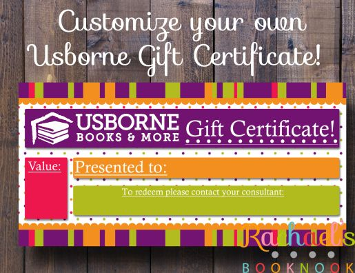 General Usborne Gift Certificate Literacy and Book baskets - make your own gift certificates free