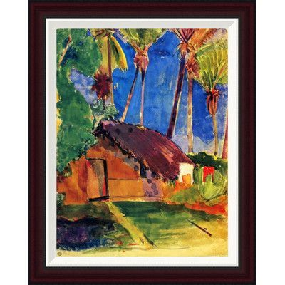 """Global Gallery Thatched Hut Under Palm Trees by Paul Gauguin Framed Painting Print Size: 26"""" H x 20.5"""" W"""