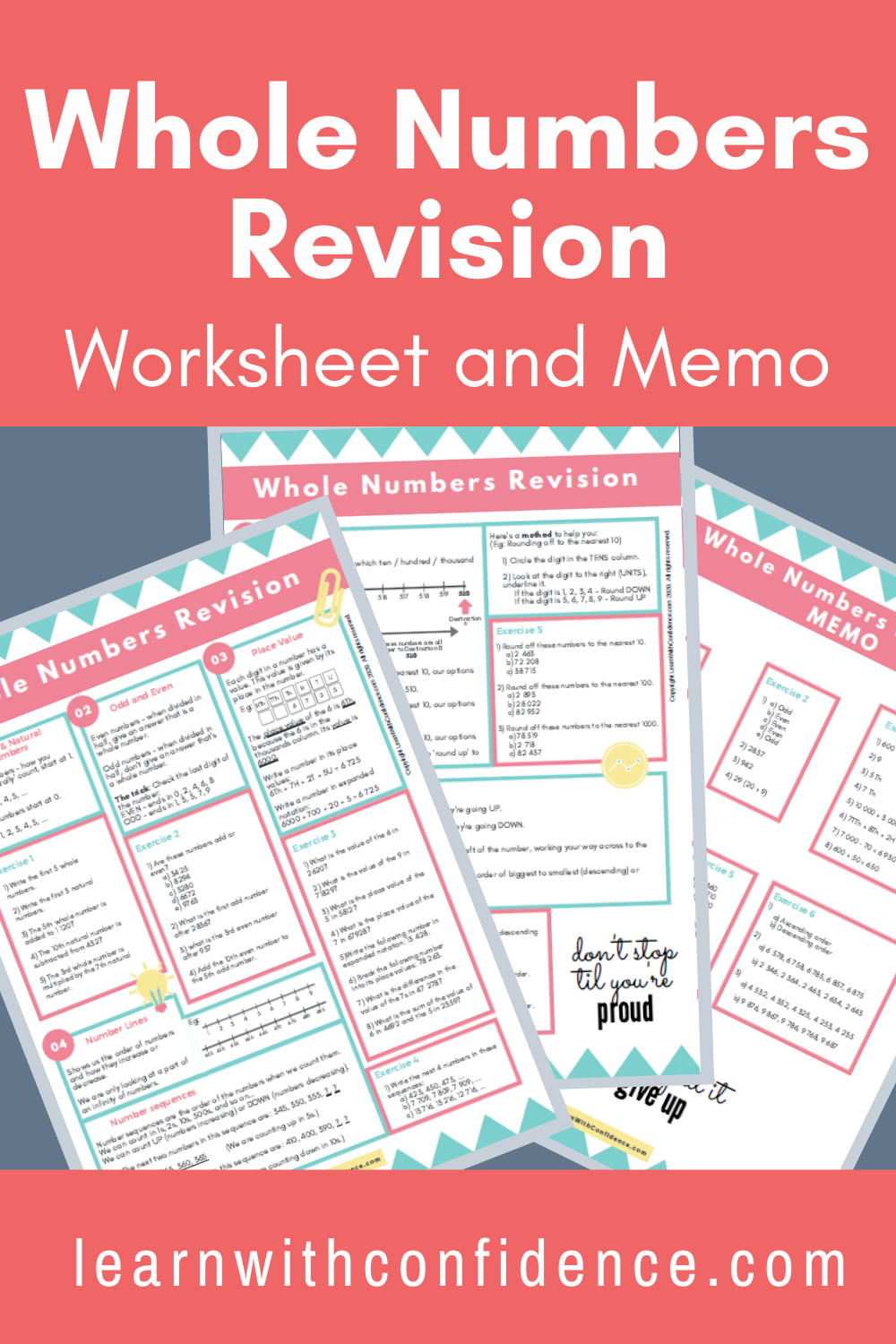 Whole Numbers Revision Worksheet Grade 4 6 Maths Memo Free Math Worksheets