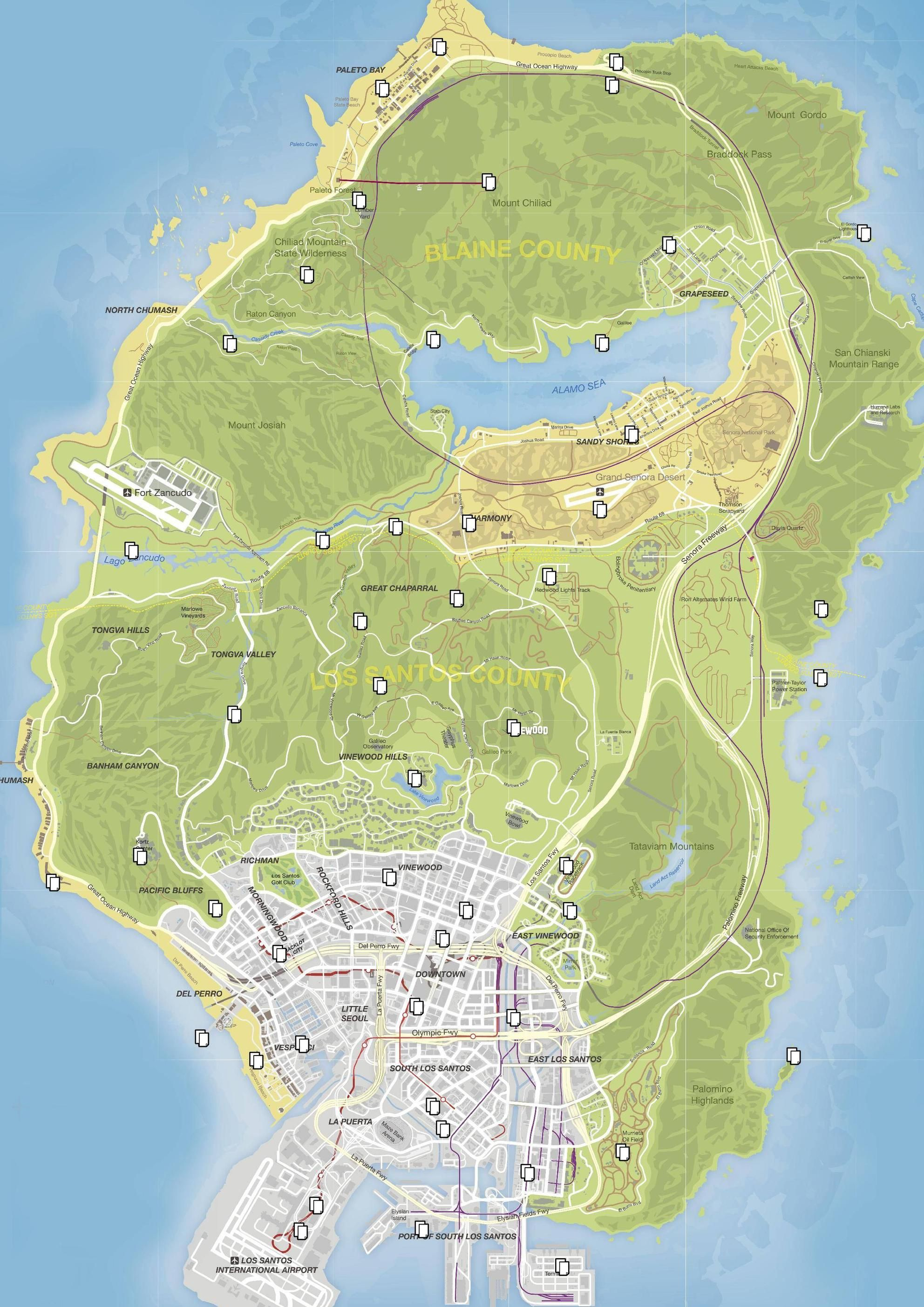 GTAV letter locations map | I'm a Freak | Ship map, Map, Location map