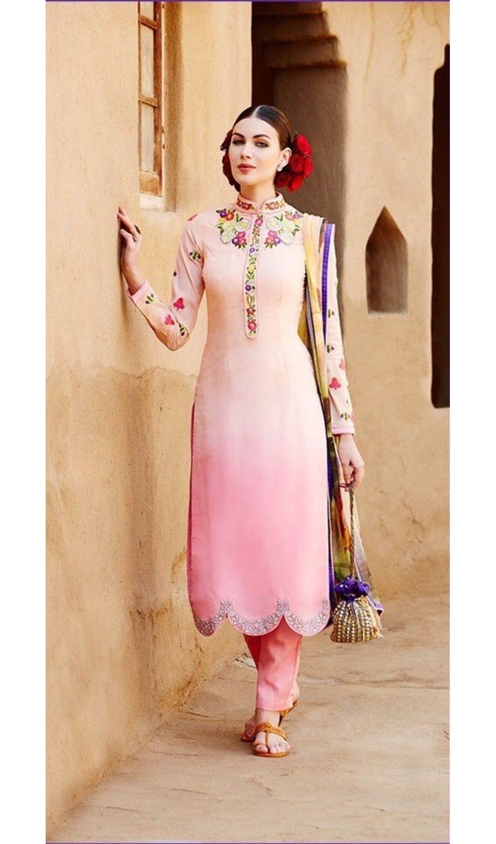29826cdb60b Pink Semi Stitched Embroidered Stone Wedding Wear Kimora Salwar Suit ...