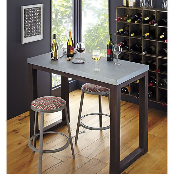 Wooden Stainless Steel Stern Counter Pub Bar Table Cb2