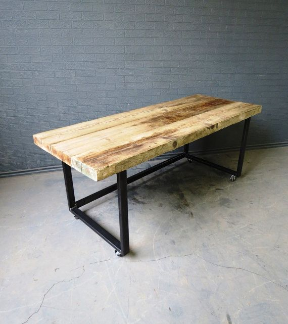 Industrial Chic Reclaimed Custom Office Desk Tables On Wheels Steel And  Wood Metal Hand Made