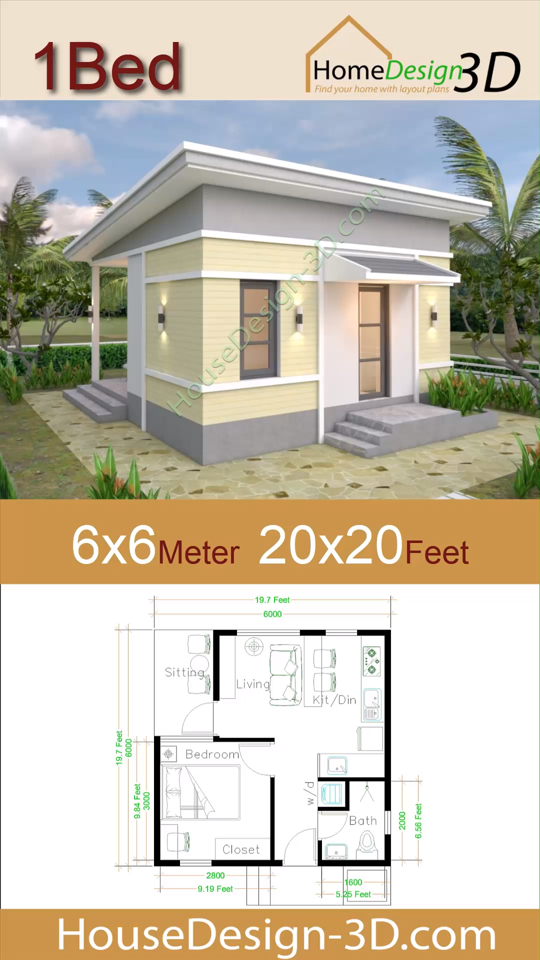 Photo of One Bedroom House Plans 6×6 with Shed Roof