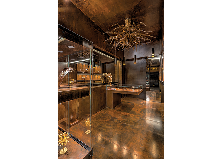 The Rusted Cave Of Jewels Jewellery Showroom Showroom Design Architecture