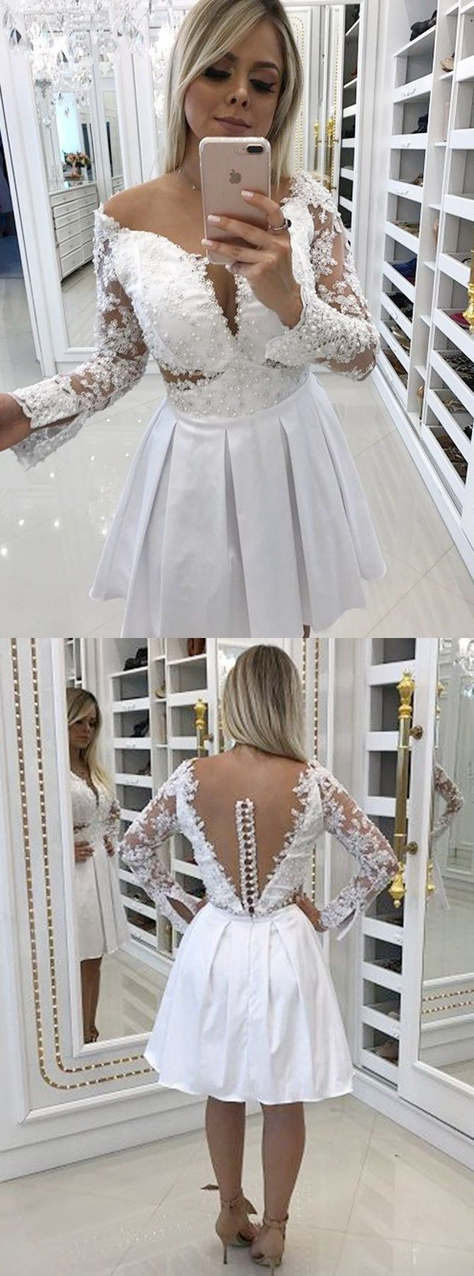 Aline offtheshoulder white homecoming prom dress with lace pearls