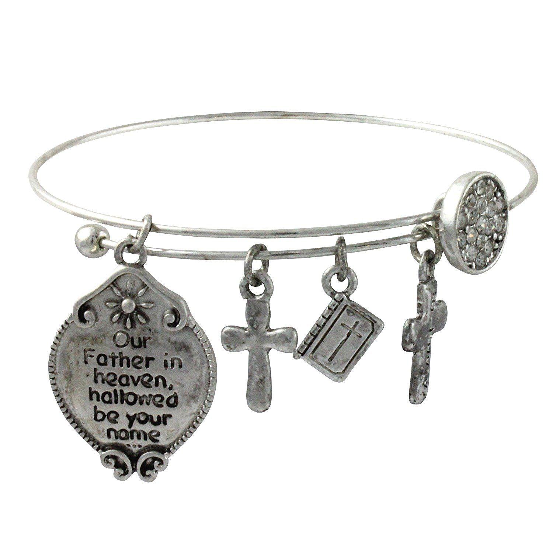 Inspirational Lords Prayer Christian Cross Charm Wire Silvertone ...