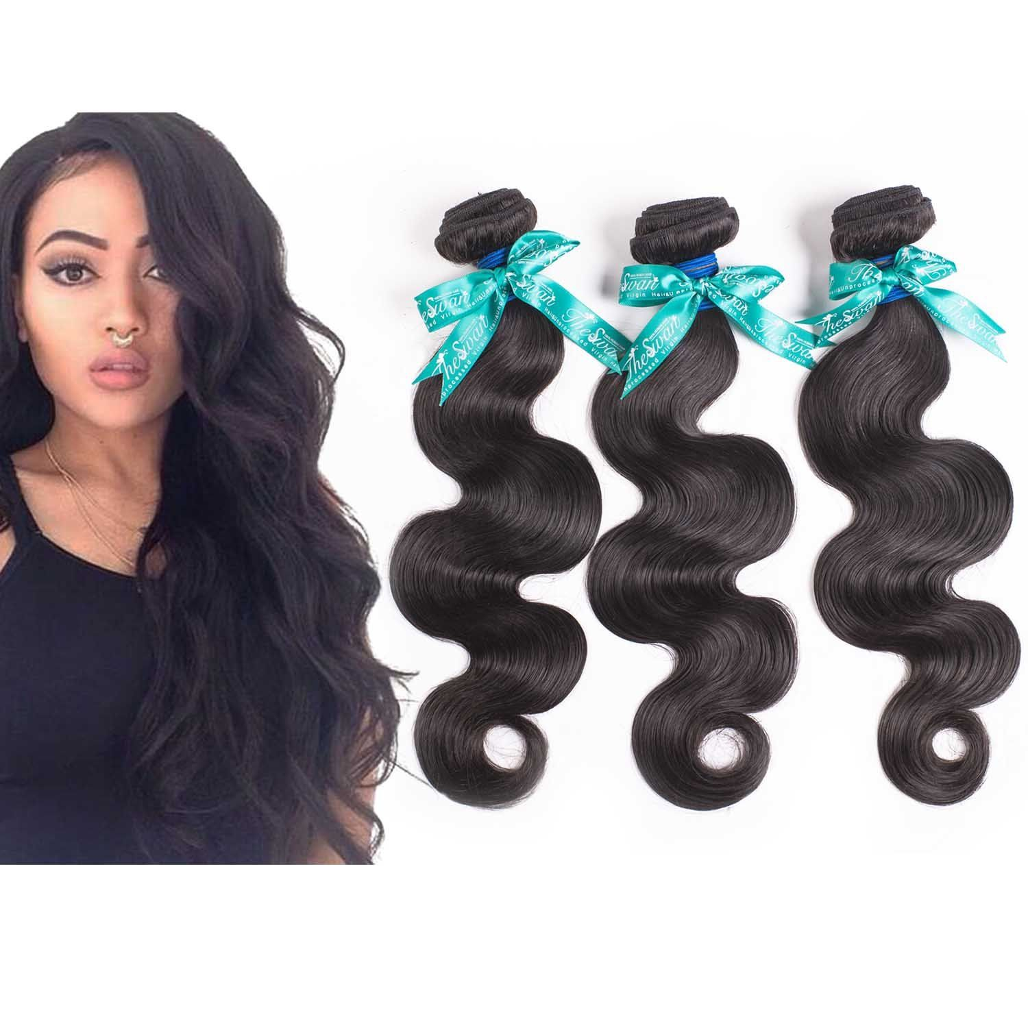 Swan 7a Grade Brazilian Virgin Hair Body Wave Human Hair 3bundles
