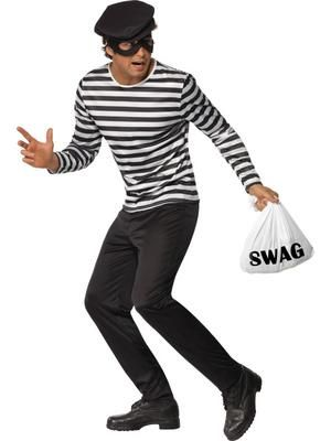 Burglar Prisoner Fancy Dress Black And White Swag T Shirt Mask Gloves Beanie Hat