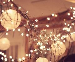 paper lanterns with twinkle lights and branches incorporated