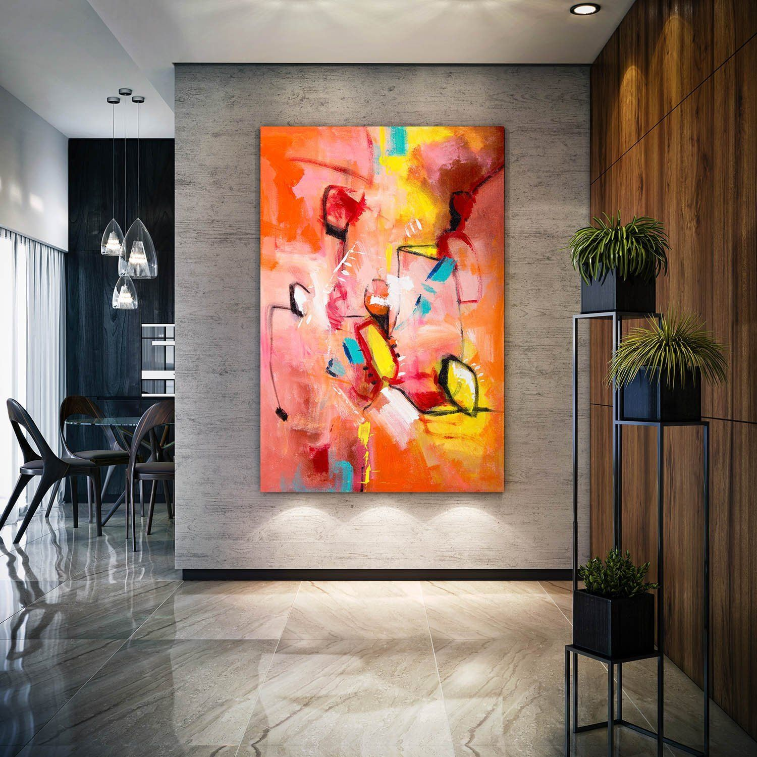 Abstract Painting Master Bedroom Art Living Room Textured ...