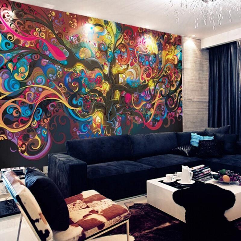 Günstige Wohnzimmer TV Hintergrund Wand Tapetenwandbilder ...