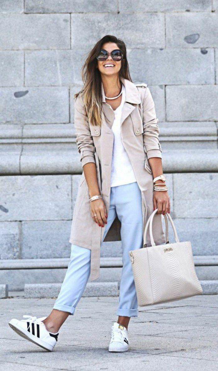 mieux aimé 2ac11 4dcbf basket basse femme, sneakers blancs, manteau beige longue et ...