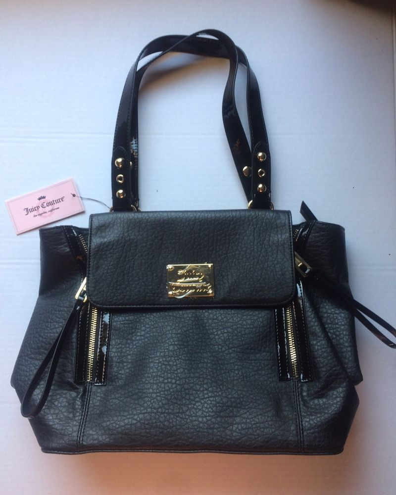 Juicy Couture Black Gold Logo Handbag Strap Tote Purse Zippers Winter   JuicyCouture  TotesShoppers fb304355c1