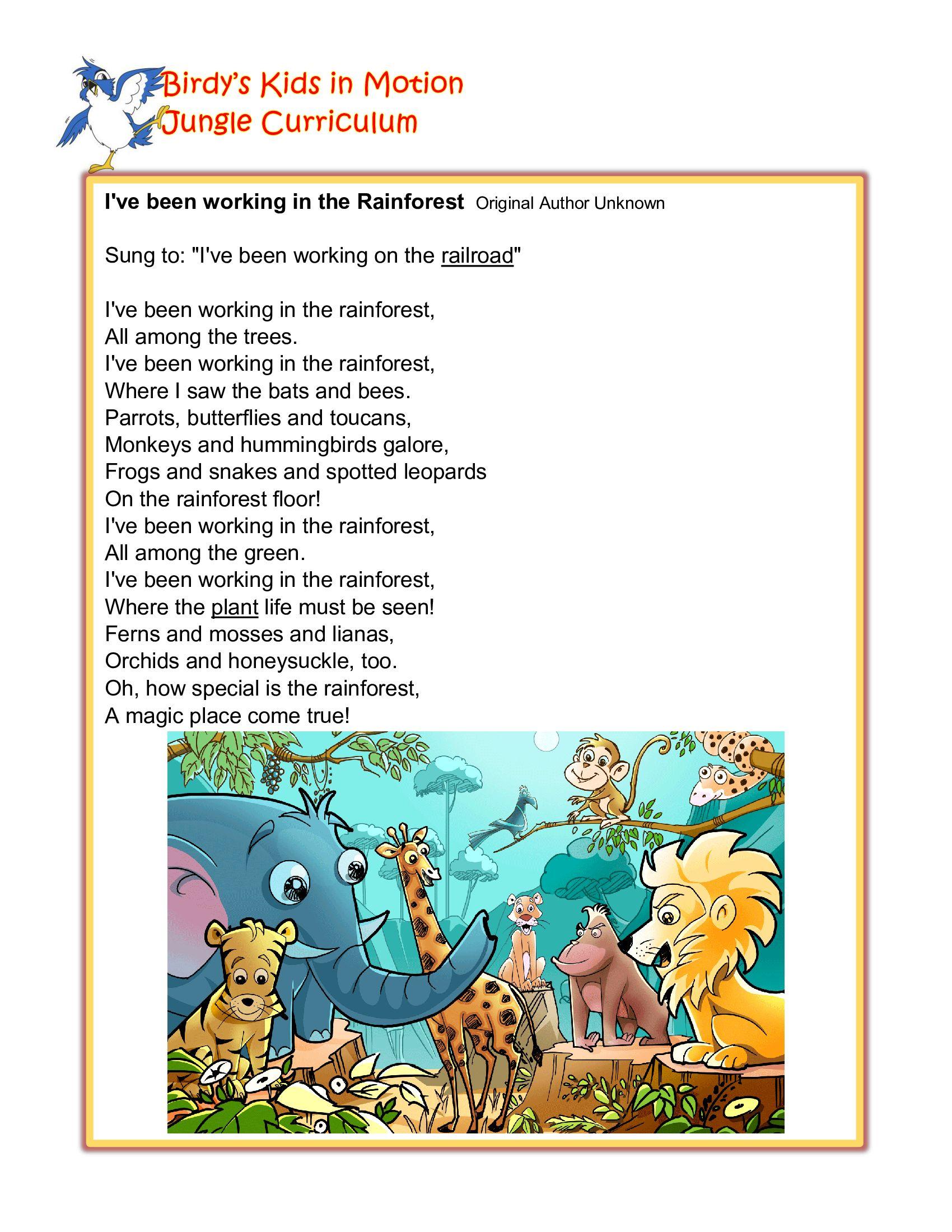 I Ve Been Working In The Rainforest Song Birdyskids Toddlercreativemovement Preschool Songs Rainforest Song Preschool Jungle