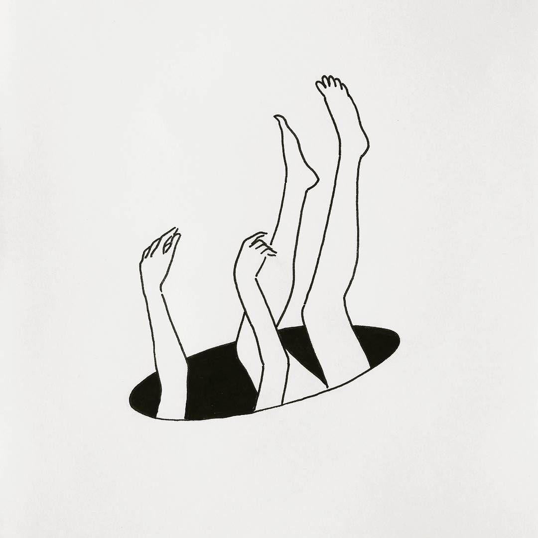 Fall into the hole illustration illustrationart art black and white