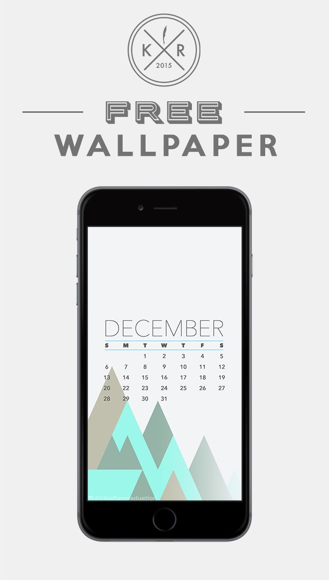 December Calendar Mobile/ iPhone wallpaper background 2015 Free