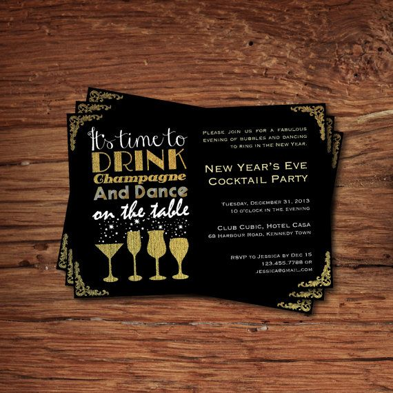 new years eve cocktail party invitation its time to drink champagne and dance on table new year eve party invite cheers to 2014