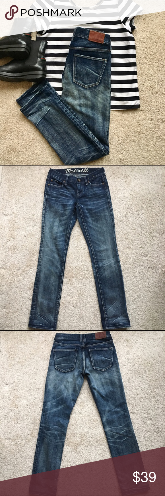 Like New Madewell Rail Straight Jeans Madewell Rail Straight Jeans in like new condition. Size 25 x 30. Dark distressed wash. These are high quality jeans, made to last! Zara top is also available in my closet! Madewell Jeans Straight Leg