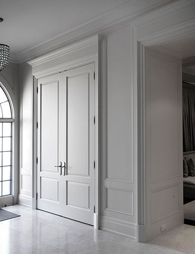 Very Tall Maybe 9 Interior Panel Doors With Millwork Trims Unequal Divisions In Door Make Them Feel Grounde Interior Door Styles Traditional Interior Doors