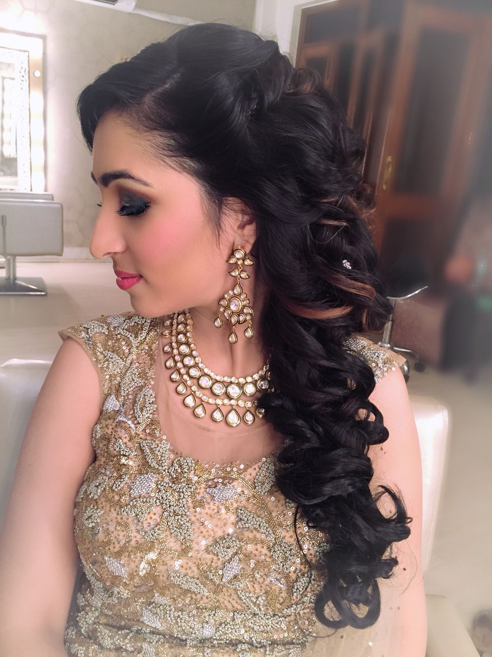 Beautiful Neha S Cocktail Look Hair Artistry By Archana Rautela Braided Hairstyles For Wedding Hair Styles Indian Party Hairstyles